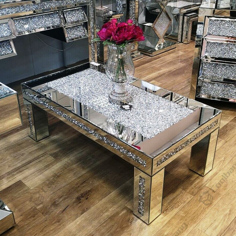 morden luxury sparkle crushed glass diamond coffee table